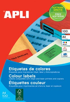 Apli Gekleurde etiketten Ft 105 x 148 mm (b x h), geel, 80 stuks, 4 per blad, etui van 20 blad