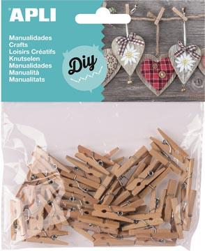 Apli houten mini wasknijpers, blister met 45 stuks