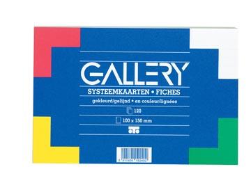 Gallery gekleurde systeemkaarten, ft 10 x 15 cm, gelijnd, pak van 120 stuks