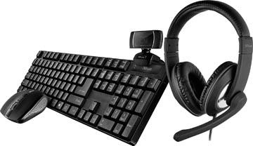 Trust Qoby 4-in-1 Home Office Set met Webcam, headset, toetsenbord (qwerty) en muis