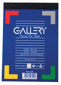 Gallery notitieblok, ft A6, gelijnd, blok van 100 vel