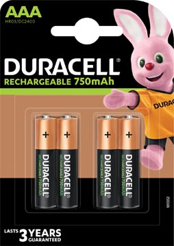 Duracell oplaadbare batterijen Recharge Plus AAA, blister van 4 stuks