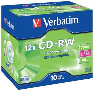 Verbatim CD rewritable CD-RW, doos van 10 stuks, individueel verpakt (Jewel Case)