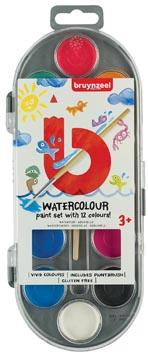 Bruynzeel Kids waterverf, set van 12 geassorteerde kleuren, in ophangbaar doosje