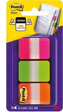 Post-it Index Strong, , ft 25,4 x 38 mm, blister met 3 kleuren (roze, groen en oranje), 12 tabs per kleur