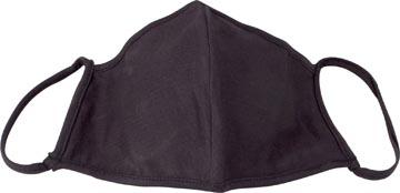 Wasbaar mondmasker, uni zwart, maat: kinderen, pak van 5 stuks