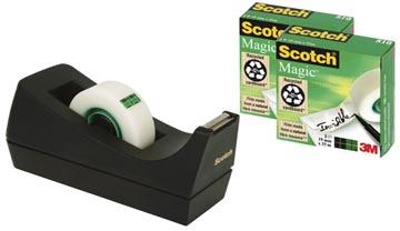 Scotch plakbandafroller C38 zwart, inclusief 3 rolletjes (19 x 33 mm)