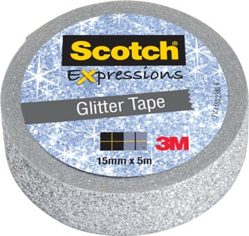 Scotch Expressions glitter tape, 15 mm x 5 m, zilver