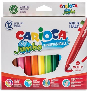 Carioca viltstift Jumbo Superwashable 12 stiften in een kartonnen etui