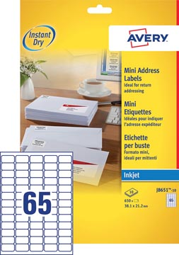 Avery J8651-10 mini etiketten ft 38,1 x 21,2 mm (b x h), 650 etiketten, wit